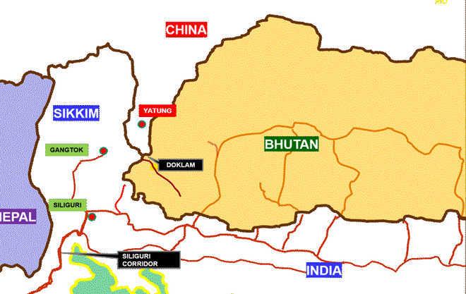 india china border dispute in doklam map